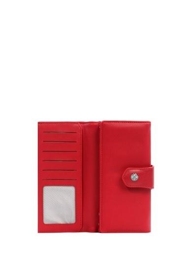 Cengiz Pakel 65222A Teknolojik Deri Orta Boy Renk Portföy Kadın Cüzdan Kırmızı